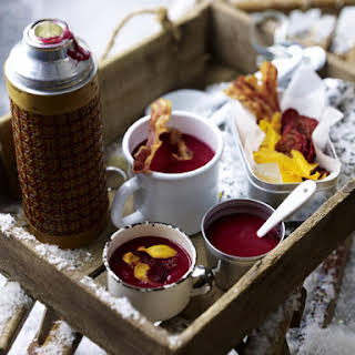 Beet Soup with Vegetable Chips and Bacon.