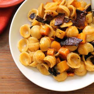 Vegetarian Pasta Carbonara with Roasted Butternut Squash.