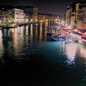 Venice Nights by Kim Wilson - Landscapes Starscapes ( water, europe, italy. lights, boats, grand canal, romantic, travel, transportation, architecture, vaporetto, canal, venice, night, evening, lights )