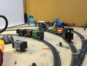 "Photo: 024 The other end of the loops of the fiddle yard revealed 3 more locomotives awaiting their turns of duty ""around the public viewing front modules"" ."