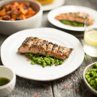 Grilled Salmon and Macho Pea Smash