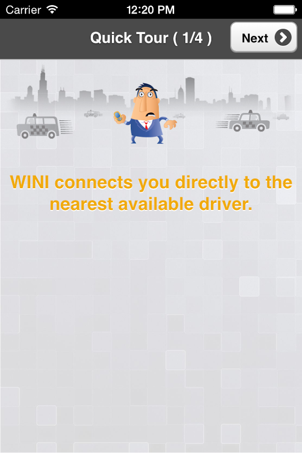 WINIcabs, on-demand cab hail- screenshot