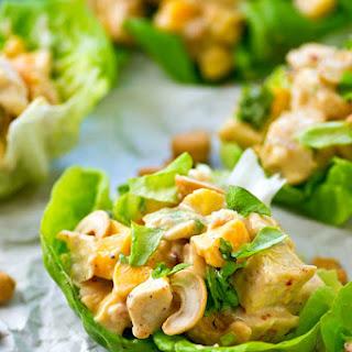 Mango Chipotle Chicken Salad Lettuce Wraps.