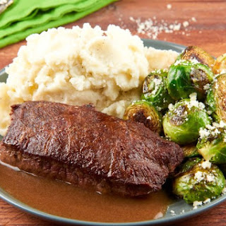 Sherry Wine Demi-Glace Flat Iron Steak with whipped potatoes and balsamic Brussels sprouts