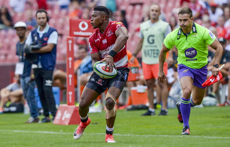 Aphiwe Dyantyi of the Lions delivers the ball during their Super Rugby match against the Jaguares at Ellis Park in Johannesburg, February 24 2018. Picture: GALLO IMAGES