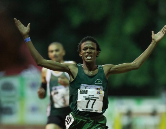 Thabang Mosiako winning the men's 5,000m final during the ASA Senior Championships at PUK McArthur Stadium on April 21, 2017 in Potchefstroom.