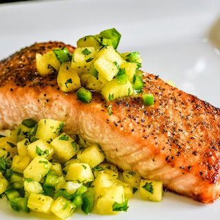 Broiled Salmon with Pineapple Salsa.