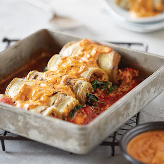 Eggplant Cannelloni with Pine Nut Romesco Sauce.