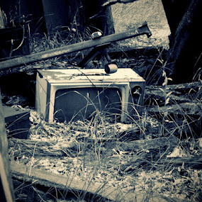 Long Forgotten by Nikki Scott - Artistic Objects Antiques ( television, collapsing building, old, tv )
