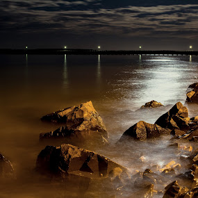 Moonlight On The Rocks by Ellen Foulds - Landscapes Starscapes ( urangan pier, long exposure, landscape, rocks, nightscape )