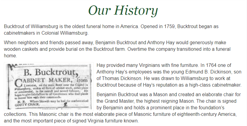 Bucktrout history of oldest funeral home in America