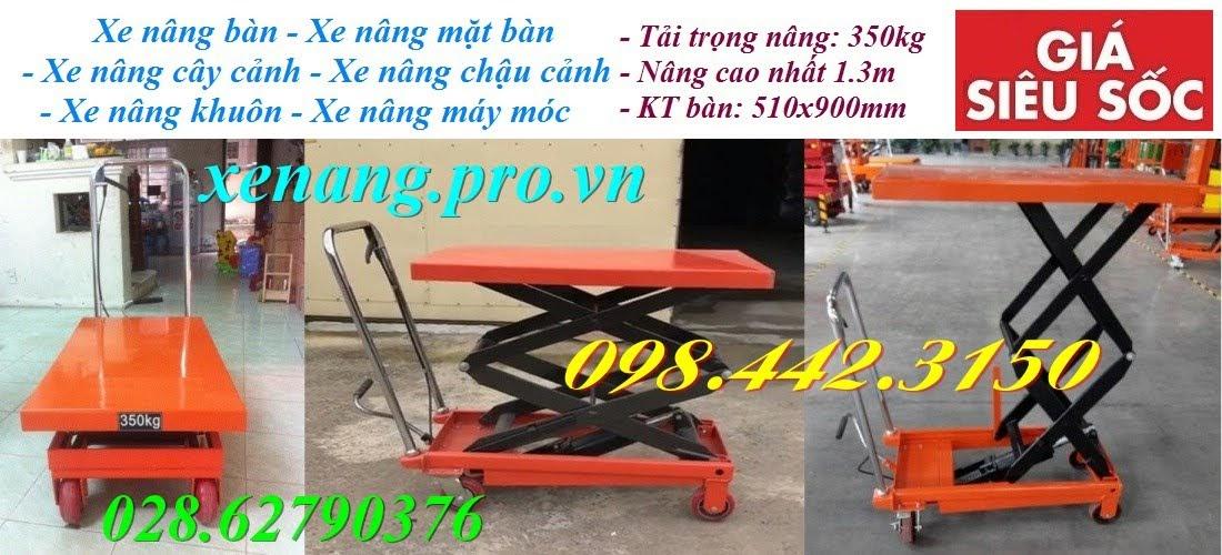 Xe nâng mặt bàn 350kg nâng cao 1300mm