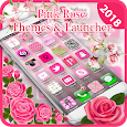 Pink Rose Theme, Pink Rose Flower Launcher