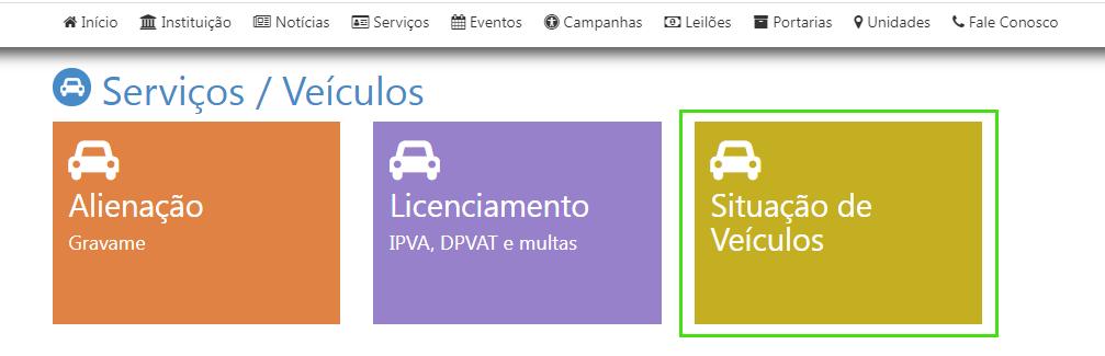 """Escolha a opção """"situação de veículos na home do site do Detran BA"""