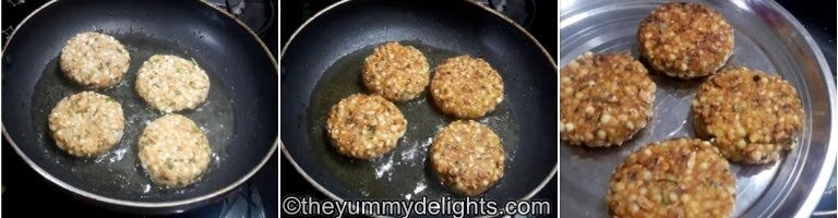 step by step collage of frying the sabudana vada