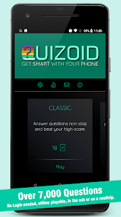 Quizoid 2019 General Knowledge offline Trivia Quiz Screenshot