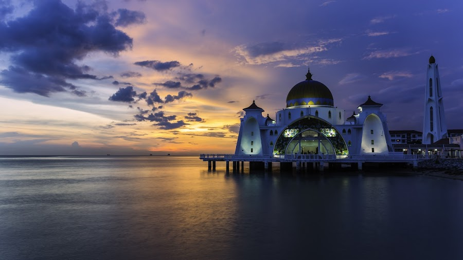 Sunset at Malacca Strait Mosque by Martin Yon - Travel Locations Landmarks ( sunset, mosque, malacca, strait mosque, malaysia, strait )
