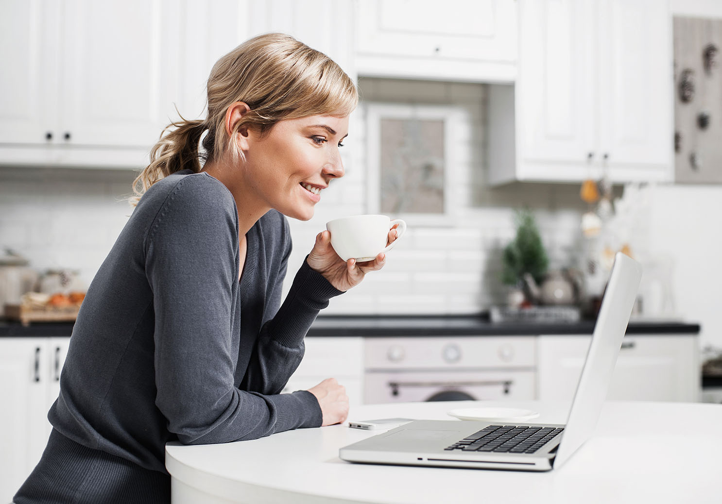 Young woman finding helpful medical information online