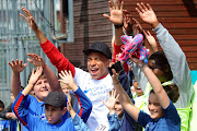 Footballer Kylian Mbappe takes part in the 'Tous En Bleu' sports workshops organised by the charity Premiers de Cordee Nearly 3,000 children from medical facilities were invited to the Stade de France for the 5th edition of 'La Journee de l' Evasion'.