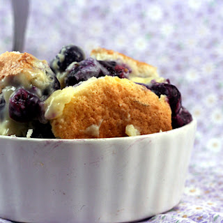 Magic Blueberry Lime Coconut Custard Pudding Cake.