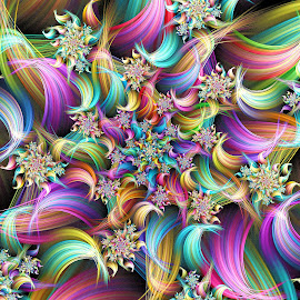 Rainbow Spiral by Peggi Wolfe - Illustration Abstract & Patterns ( abstract, wolfepaw, gift, unique, bright, illustration, spiral, fun, digital, print, décor, pattern, color, unusual, fractal, rainbow )