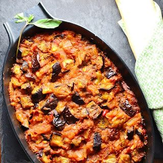 Spicy Eggplant with Tomato and Thai Basil.