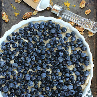 No-Bake Blueberry Lemon Ice Cream Pie with Coconut Walnut Crust