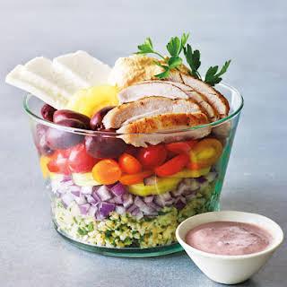 Mediterranean Chicken Salad Bowl with Bulgur.