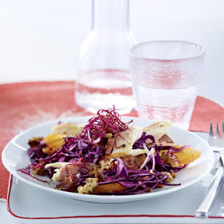 Red Cabbage Salad with Smoked Trout and Dates.