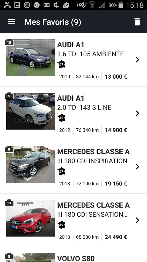 la centrale voiture occasion applications android sur google play. Black Bedroom Furniture Sets. Home Design Ideas