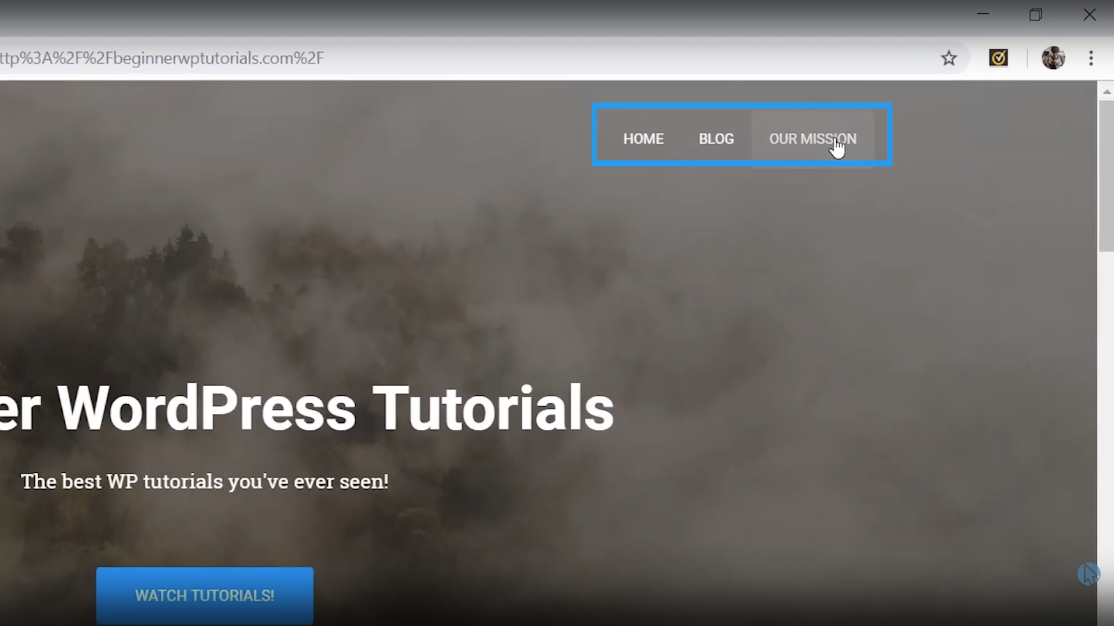 mission page added to menu wordpress tutorial for beginners