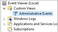 The Custom Views section in the Event Viewer