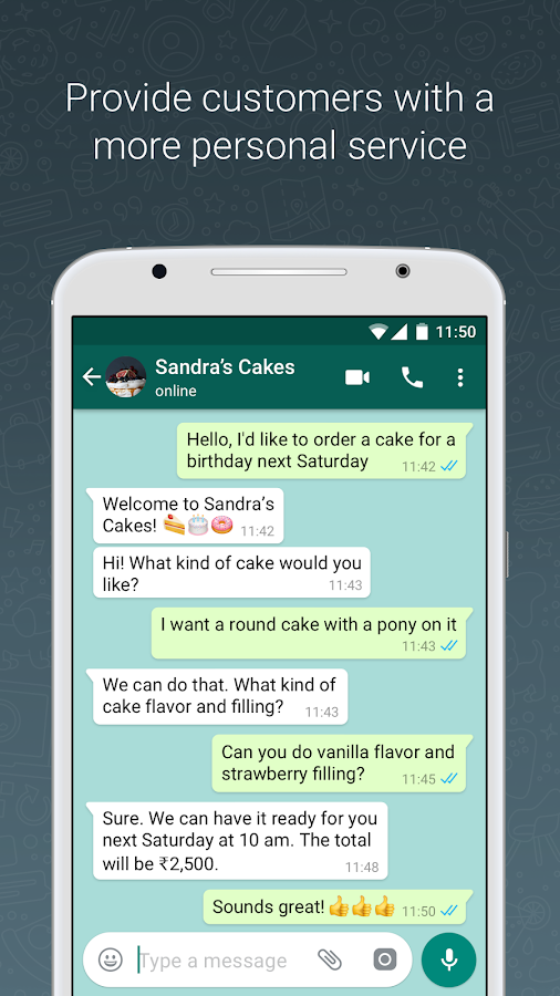WhatsApp Business (WhatsApp para Negocios): captura de pantalla