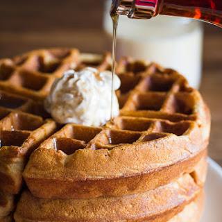 Eggnog Waffles w/ Gingerbread Whipped Cream