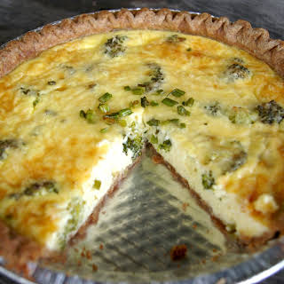 Garlic Scape and Broccoli Quiche with Ricotta and Parmesan Cheese.