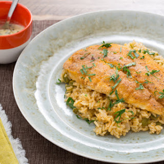 Crispy Cajun Catfish with Dirty Rice & Spicy Remoulade.