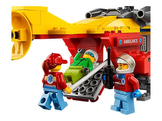 Trực Thăng Cứu Hộ Lego 60179 được trang bị cáng cứu thương.