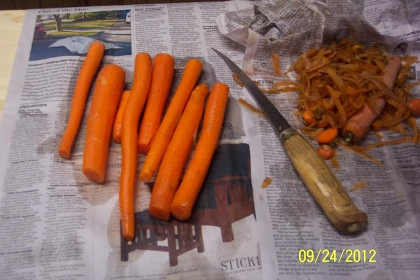 Peel and chop, slice or cut carrots into hunks. Place in a suuce pan with...