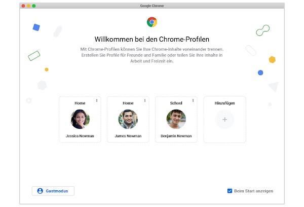 Ein Screenshot der neuen Chrome-Profile