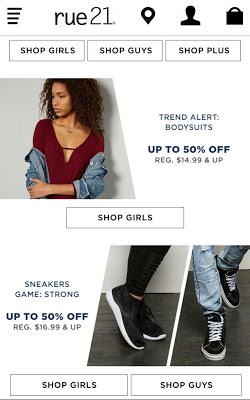 rue21 Shop the latest Girls & Guys fashion trends - screenshot