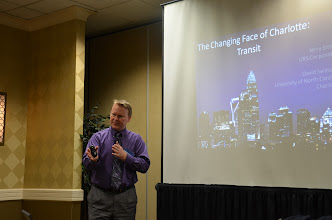 Photo: David Swindell (UNCC) discusses transit in Charlotte