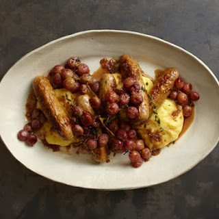 Creamy Polenta with Sausages and Roasted Grapes.