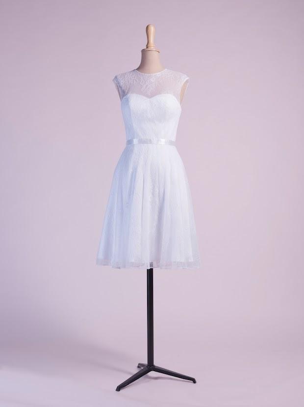 Robe de mariée courte Colombe, robe de soirée courte dentelle, robe cocktail pas cher, ivoire ou couleur