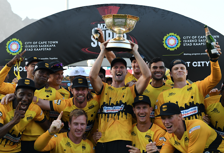 Jozi Stars with the trophy during the Mzansi Super League final match between Cape Town Blitz and Jozi Stars at PPC Newlands on December 16, 2018 in Cape Town, South Africa.