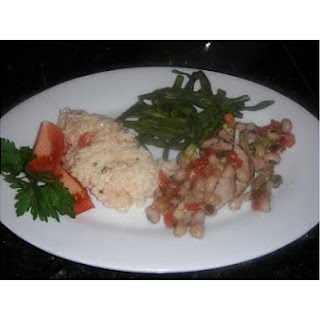 Pork Medallions With Black-Eyed Pea Relish and Pimiento Cheese Rice
