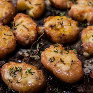 Cheesy Thyme Smashed Potatoes