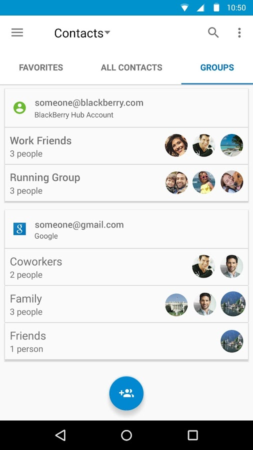 Contacts by BlackBerry- screenshot