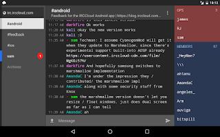 Screenshot of IRCCloud