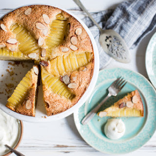 Gluten-Free Almond Oat Pear Cake with Almond Chantilly.