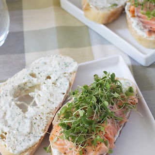 Salmon Sandwich with Creamy Dill Sauce.
